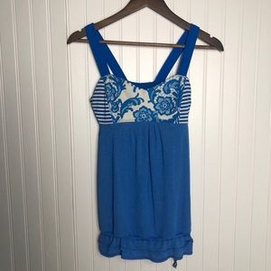 Lululemon Blue and White Restless Striped Tank Top